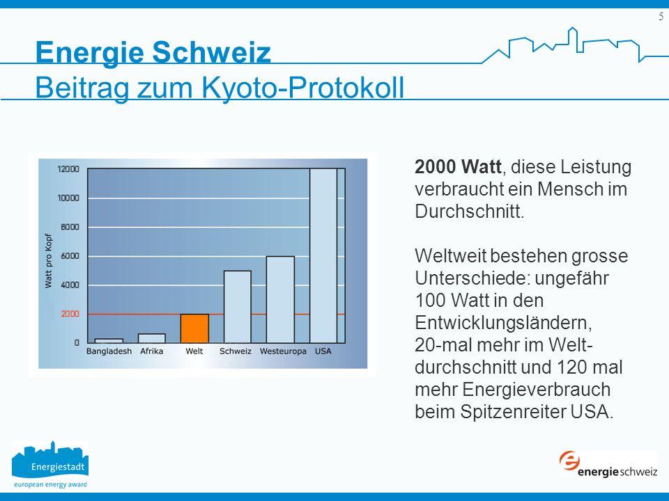5 Energie Schweiz 2000 Watt, diese Leistung verbraucht ein Mensch im Durchschnitt. Weltweit bestehen grosse Unterschiede: ungefähr 100 Watt in den Ent