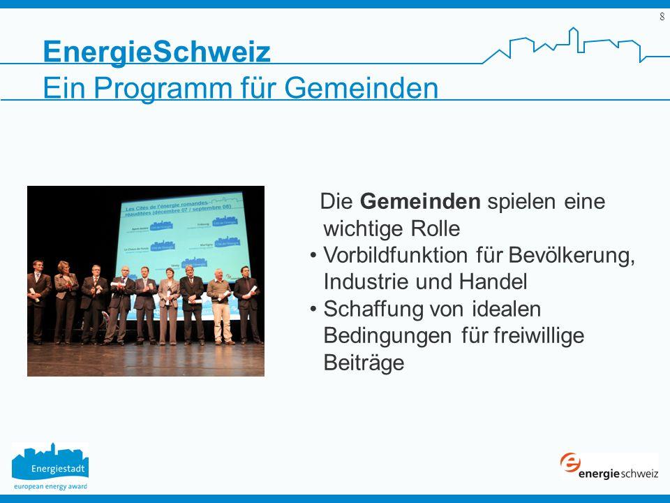 8 EnergieSchweiz Ein Programm für Gemeinden Die Gemeinden spielen eine wichtige Rolle Vorbildfunktion für Bevölkerung, Industrie und Handel Schaffung