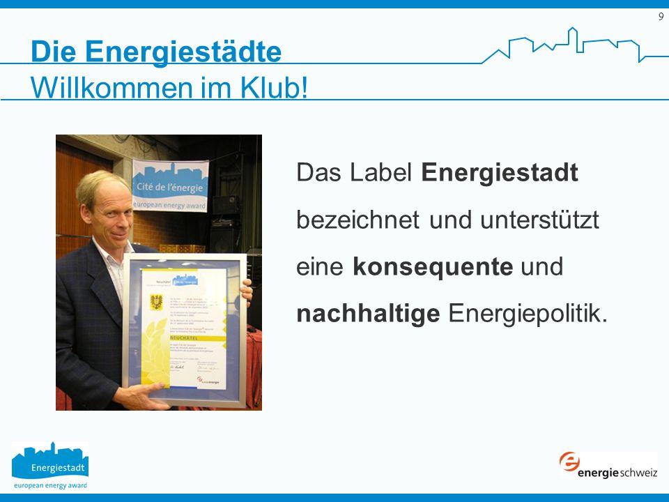 9 Die Energiestädte Das Label Energiestadt bezeichnet und unterstützt eine konsequente und nachhaltige Energiepolitik. Willkommen im Klub!