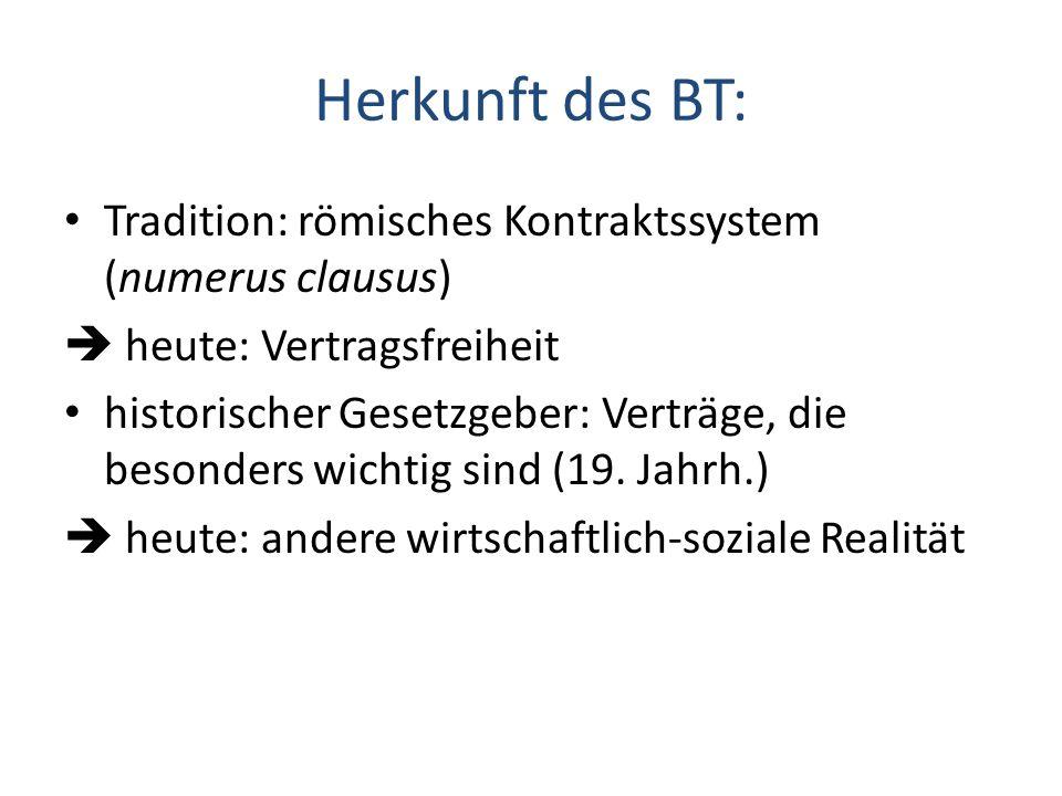 Herkunft des BT: Tradition: römisches Kontraktssystem (numerus clausus) heute: Vertragsfreiheit historischer Gesetzgeber: Verträge, die besonders wich