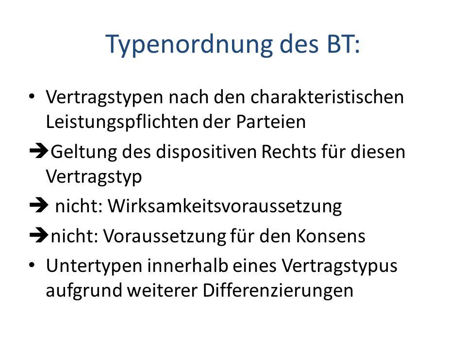 Typenordnung des BT: Vertragstypen nach den charakteristischen Leistungspflichten der Parteien Geltung des dispositiven Rechts für diesen Vertragstyp