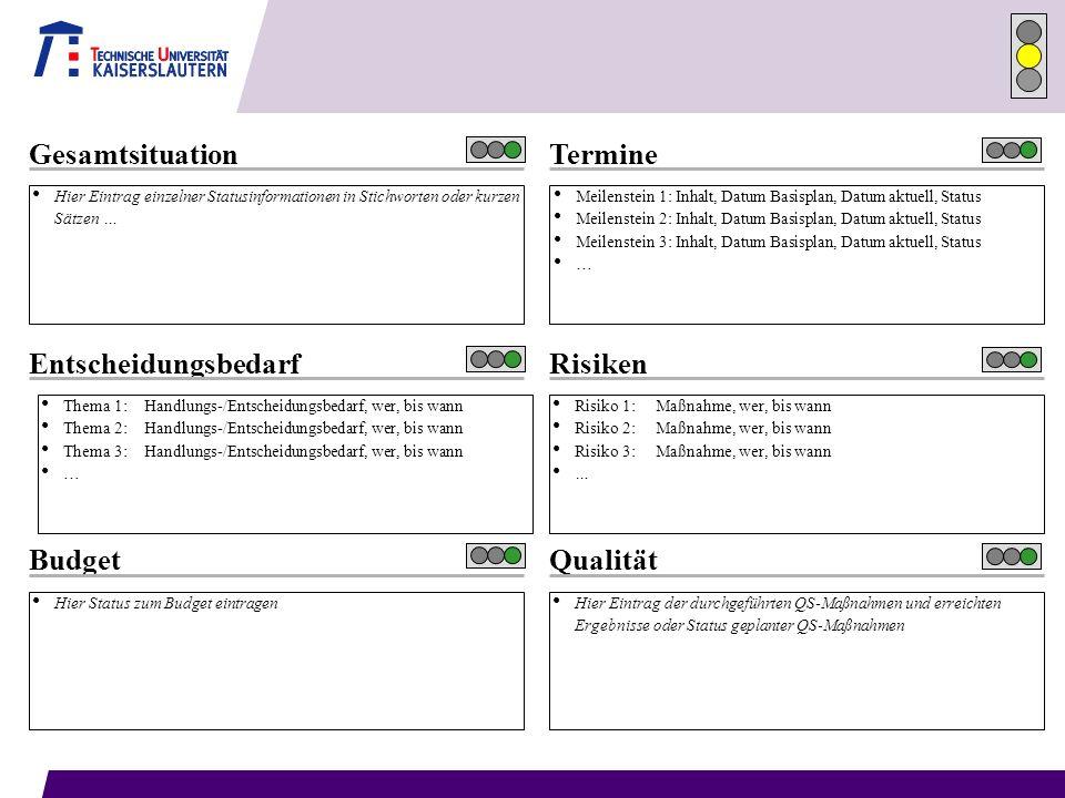 Termine Hier Eintrag einzelner Statusinformationen in Stichworten oder kurzen Sätzen … Gesamtsituation Thema 1: Handlungs-/Entscheidungsbedarf, wer, b