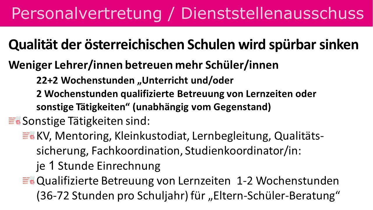Qualität der österreichischen Schulen wird spürbar sinken Weniger Lehrer/innen betreuen mehr Schüler/innen 22+2 Wochenstunden Unterricht und/oder 2 Wo