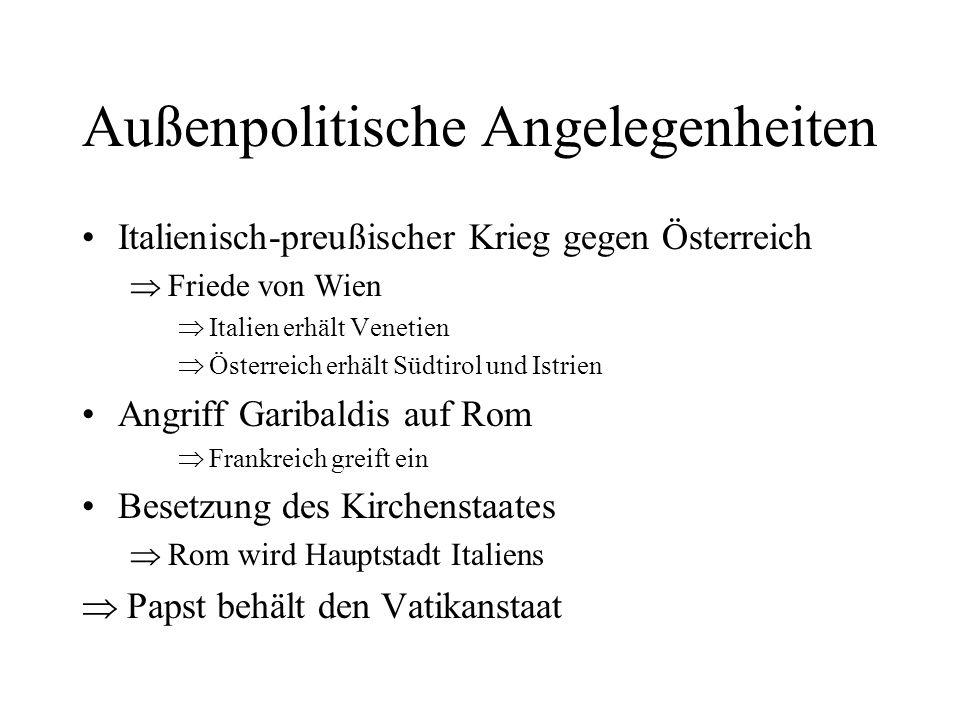 Außenpolitische Angelegenheiten Italienisch-preußischer Krieg gegen Österreich Friede von Wien Italien erhält Venetien Österreich erhält Südtirol und