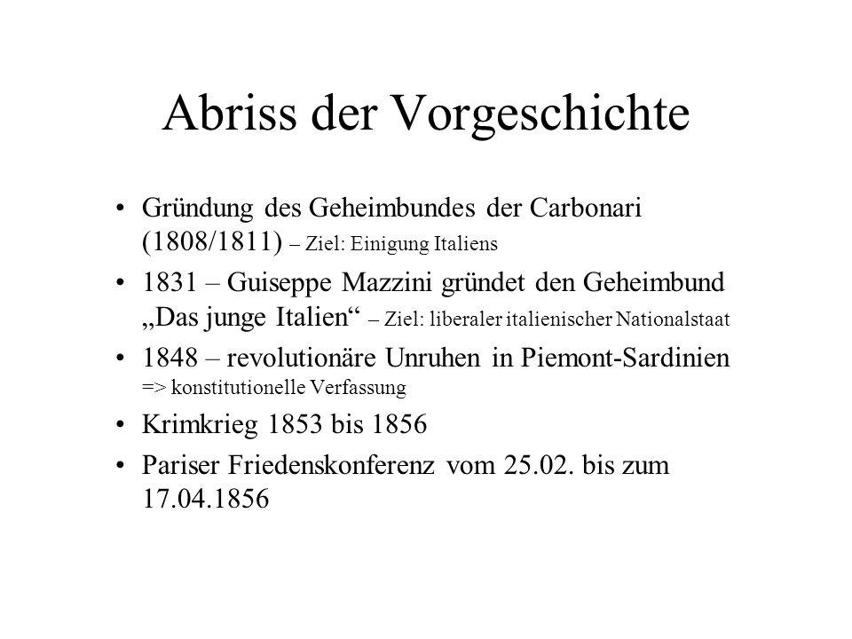 Abriss der Vorgeschichte Gründung des Geheimbundes der Carbonari (1808/1811) – Ziel: Einigung Italiens 1831 – Guiseppe Mazzini gründet den Geheimbund