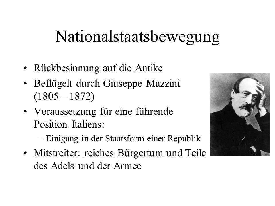 Nationalstaatsbewegung Rückbesinnung auf die Antike Beflügelt durch Giuseppe Mazzini (1805 – 1872) Voraussetzung für eine führende Position Italiens: