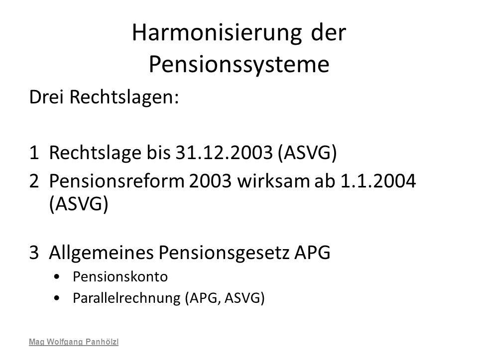 Harmonisierung der Pensionssysteme Drei Rechtslagen: 1Rechtslage bis 31.12.2003 (ASVG) 2Pensionsreform 2003 wirksam ab 1.1.2004 (ASVG) 3Allgemeines Pe