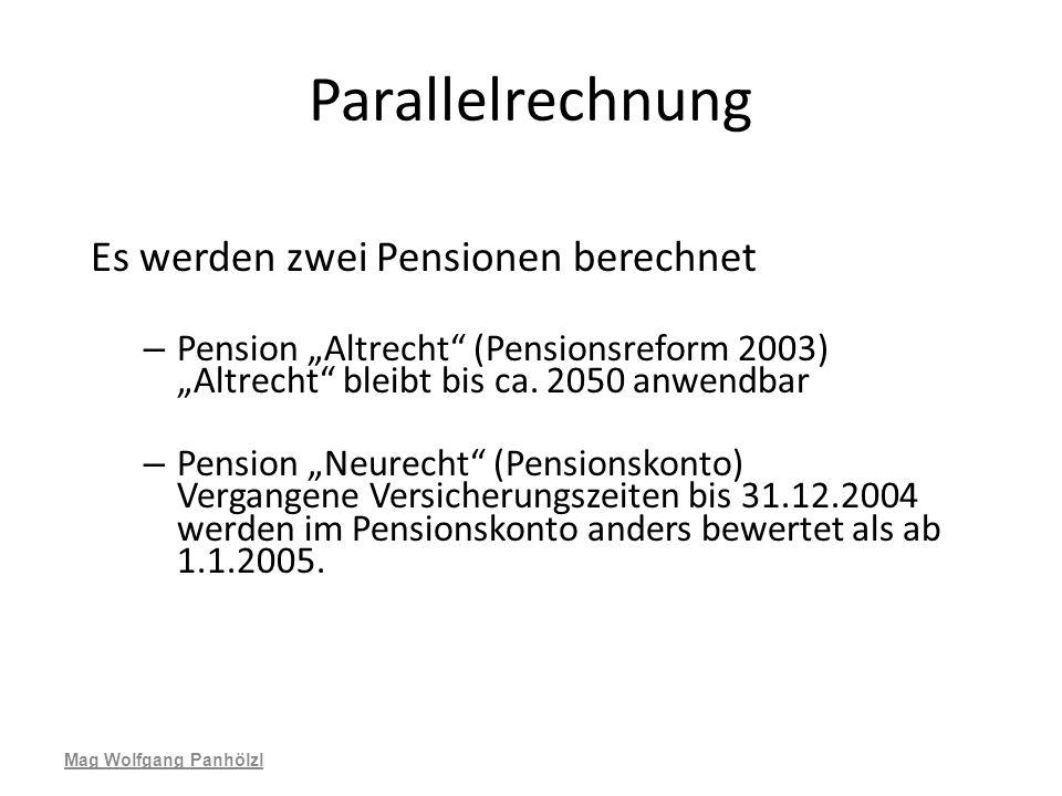 Parallelrechnung Es werden zwei Pensionen berechnet – Pension Altrecht (Pensionsreform 2003) Altrecht bleibt bis ca. 2050 anwendbar – Pension Neurecht