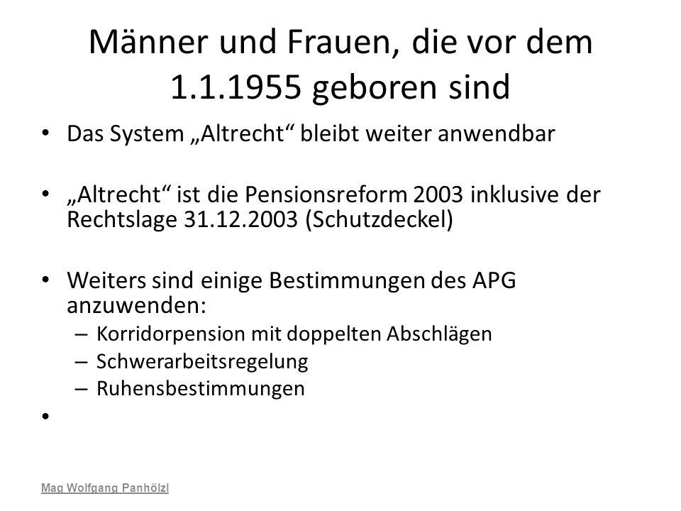 Männer und Frauen, die vor dem 1.1.1955 geboren sind Das System Altrecht bleibt weiter anwendbar Altrecht ist die Pensionsreform 2003 inklusive der Re