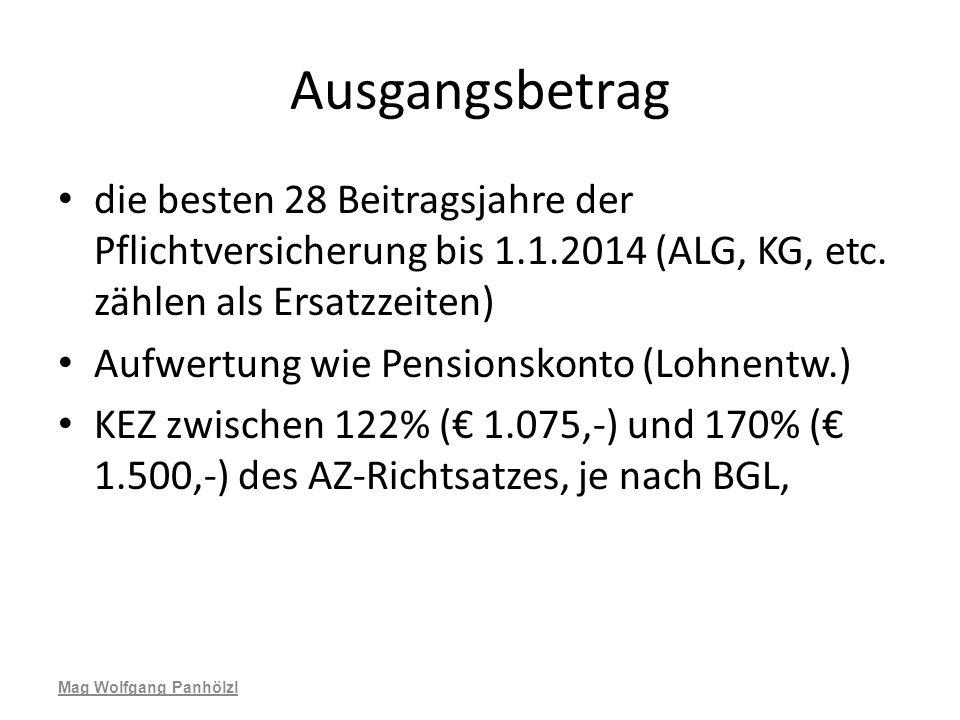 Ausgangsbetrag die besten 28 Beitragsjahre der Pflichtversicherung bis 1.1.2014 (ALG, KG, etc. zählen als Ersatzzeiten) Aufwertung wie Pensionskonto (