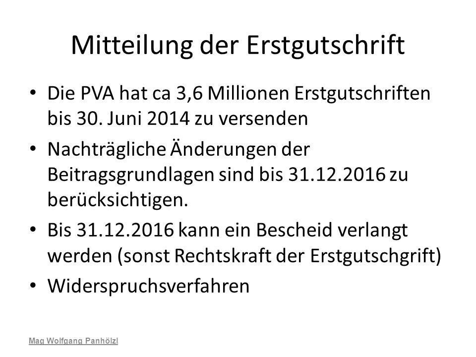 Mitteilung der Erstgutschrift Die PVA hat ca 3,6 Millionen Erstgutschriften bis 30. Juni 2014 zu versenden Nachträgliche Änderungen der Beitragsgrundl