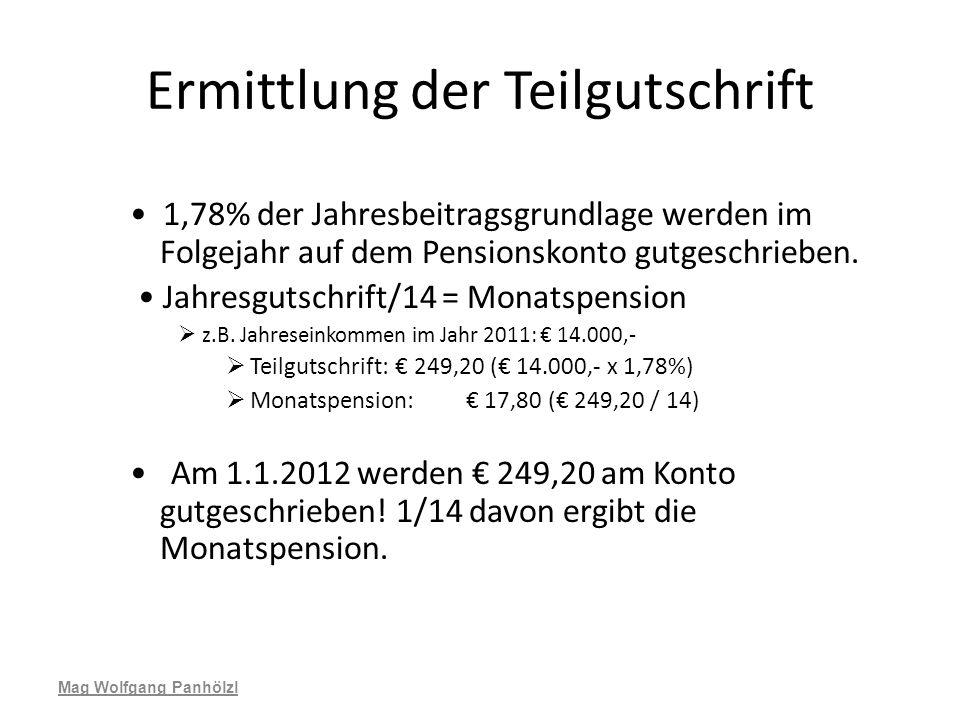 Ermittlung der Teilgutschrift 1,78% der Jahresbeitragsgrundlage werden im Folgejahr auf dem Pensionskonto gutgeschrieben. Jahresgutschrift/14 = Monats