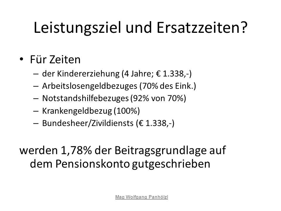 Leistungsziel und Ersatzzeiten? Für Zeiten – der Kindererziehung (4 Jahre; 1.338,-) – Arbeitslosengeldbezuges (70% des Eink.) – Notstandshilfebezuges