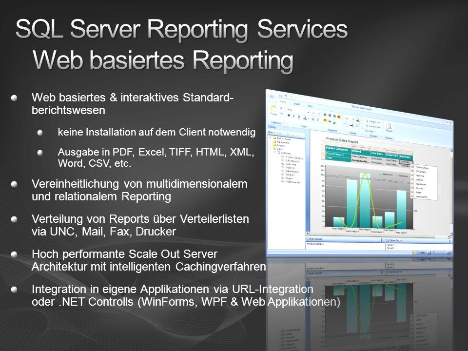 Web basiertes & interaktives Standard- berichtswesen keine Installation auf dem Client notwendig Ausgabe in PDF, Excel, TIFF, HTML, XML, Word, CSV, et