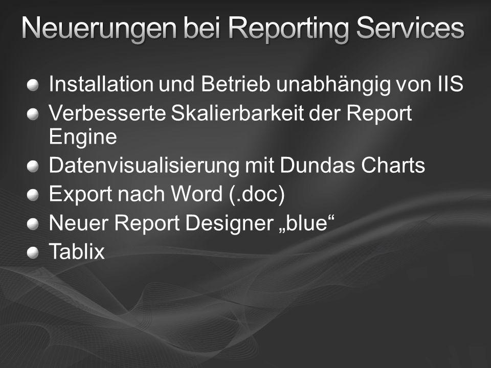 Installation und Betrieb unabhängig von IIS Verbesserte Skalierbarkeit der Report Engine Datenvisualisierung mit Dundas Charts Export nach Word (.doc)