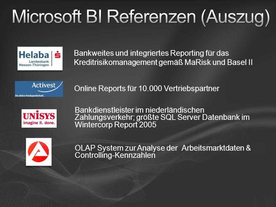 Online Reports für 10.000 Vertriebspartner Bankweites und integriertes Reporting für das Kreditrisikomanagement gemäß MaRisk und Basel II Bankdienstle