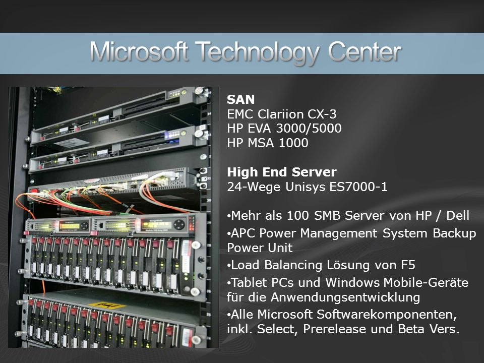 SAN EMC Clariion CX-3 HP EVA 3000/5000 HP MSA 1000 High End Server 24-Wege Unisys ES7000-1 Mehr als 100 SMB Server von HP / Dell APC Power Management