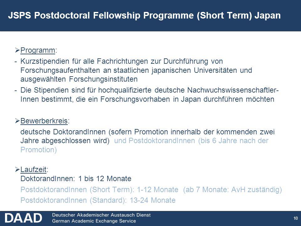 10 JSPS Postdoctoral Fellowship Programme (Short Term) Japan Programm: -Kurzstipendien für alle Fachrichtungen zur Durchführung von Forschungsaufenthalten an staatlichen japanischen Universitäten und ausgewählten Forschungsinstituten -Die Stipendien sind für hochqualifizierte deutsche Nachwuchswissenschaftler- Innen bestimmt, die ein Forschungsvorhaben in Japan durchführen möchten Bewerberkreis: deutsche DoktorandInnen (sofern Promotion innerhalb der kommenden zwei Jahre abgeschlossen wird) und PostdoktorandInnen (bis 6 Jahre nach der Promotion) Laufzeit: DoktorandInnen: 1 bis 12 Monate PostdoktorandInnen (Short Term): 1-12 Monate (ab 7 Monate: AvH zuständig) PostdoktorandInnen (Standard): 13-24 Monate