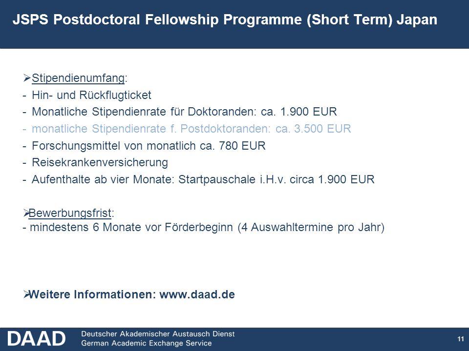 11 JSPS Postdoctoral Fellowship Programme (Short Term) Japan Stipendienumfang: -Hin- und Rückflugticket -Monatliche Stipendienrate für Doktoranden: ca.