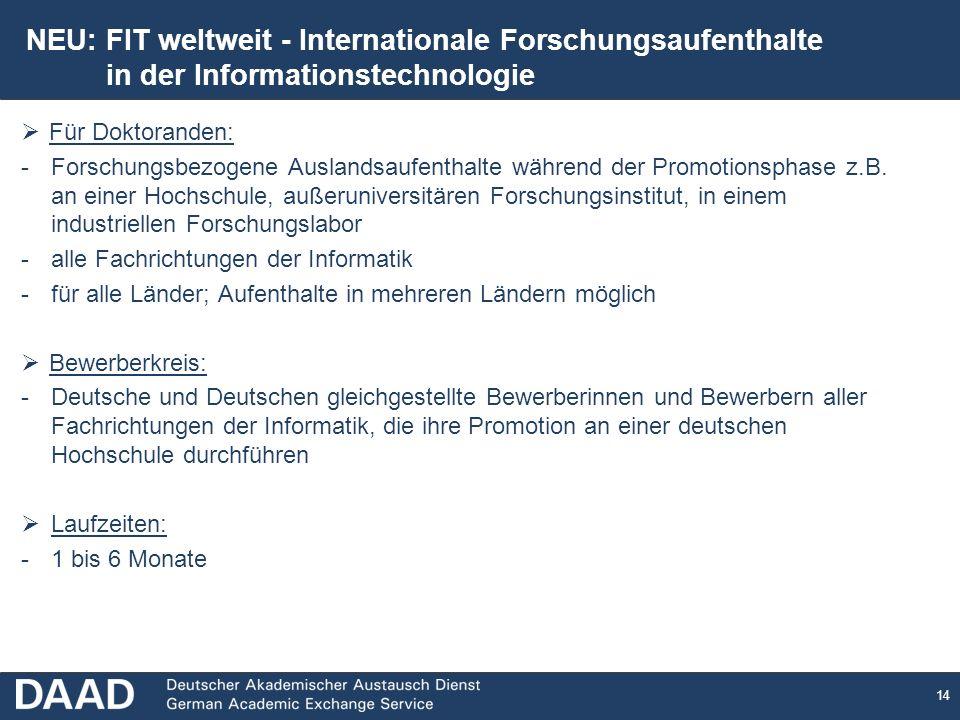14 Für Doktoranden: -Forschungsbezogene Auslandsaufenthalte während der Promotionsphase z.B.