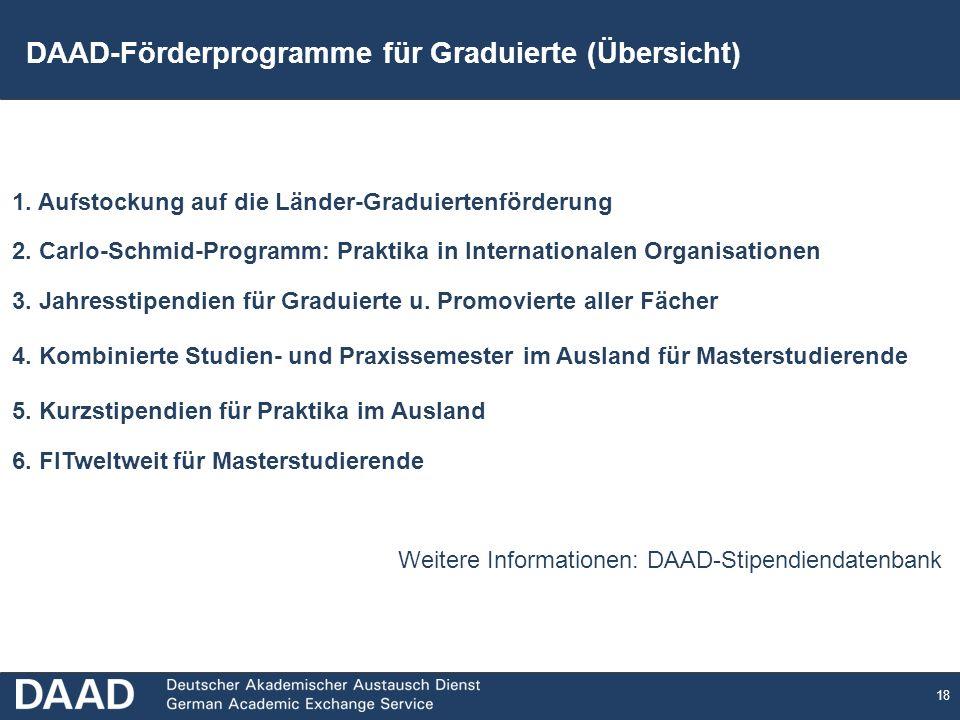 18 DAAD-Förderprogramme für Graduierte (Übersicht) 1.