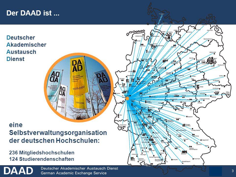3 eine Selbstverwaltungsorganisation der deutschen Hochschulen: 236 Mitgliedshochschulen 124 Studierendenschaften Deutscher Akademischer Austausch Dienst Der DAAD ist...