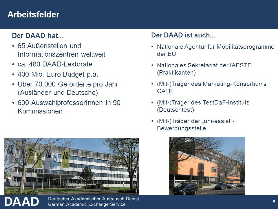5 Arbeitsfelder Der DAAD hat...65 Außenstellen und Informationszentren weltweit ca.