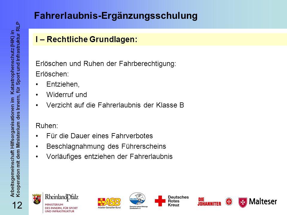 12 Arbeitsgemeinschaft Hilfsorganisationen im Katastrophenschutz (HiK) in Kooperation mit dem Ministerium des Innern, für Sport und Infrastruktur RLP