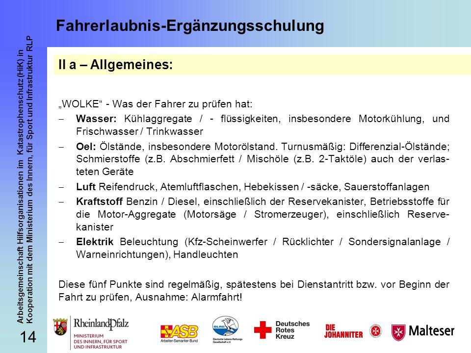 14 Arbeitsgemeinschaft Hilfsorganisationen im Katastrophenschutz (HiK) in Kooperation mit dem Ministerium des Innern, für Sport und Infrastruktur RLP