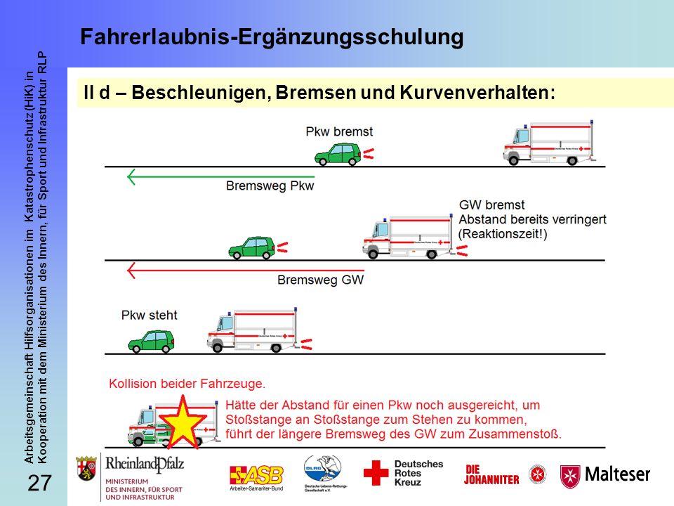 27 Arbeitsgemeinschaft Hilfsorganisationen im Katastrophenschutz (HiK) in Kooperation mit dem Ministerium des Innern, für Sport und Infrastruktur RLP Fahrerlaubnis-Ergänzungsschulung II d – Beschleunigen, Bremsen und Kurvenverhalten: