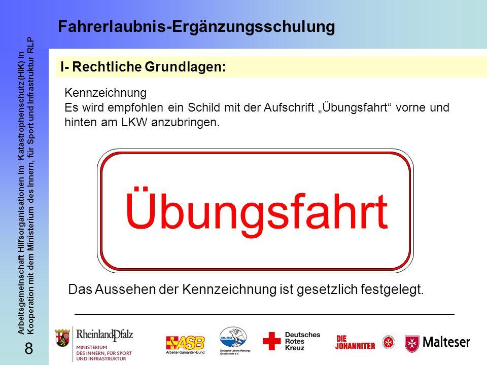 9 Arbeitsgemeinschaft Hilfsorganisationen im Katastrophenschutz (HiK) in Kooperation mit dem Ministerium des Innern, für Sport und Infrastruktur RLP Fahrerlaubnis-Ergänzungsschulung Praktische Einweisung in Rheinland-Pfalz: 1.Fahren nach rechts rückwärts unter Ausnutzung einer Einmündung o.ä.
