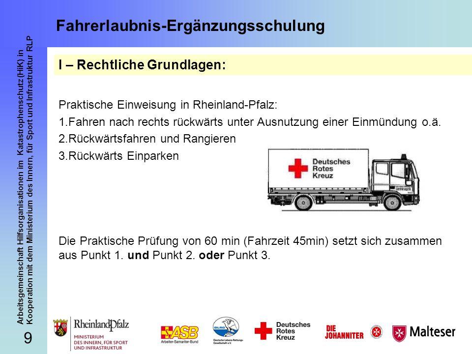 70 Arbeitsgemeinschaft Hilfsorganisationen im Katastrophenschutz (HiK) in Kooperation mit dem Ministerium des Innern, für Sport und Infrastruktur RLP Fahrerlaubnis-Ergänzungsschulung Herzlichen Dank für Ihre Aufmerksamkeit.