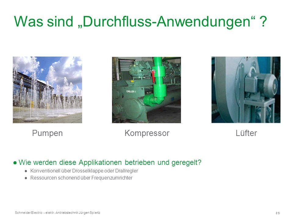 25 Schneider Electric - elektr. Antriebstechnik Jürgen Spiertz Wie werden diese Applikationen betrieben und geregelt? Konventionell über Drosselklappe