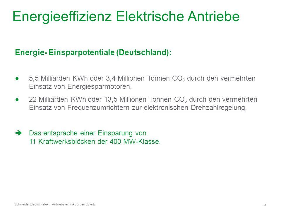Schneider Electric 3 - elektr. Antriebstechnik Jürgen Spiertz Energie- Einsparpotentiale (Deutschland): 5,5 Milliarden KWh oder 3,4 Millionen Tonnen C