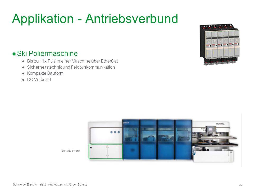 33 Schneider Electric - elektr. Antriebstechnik Jürgen Spiertz Applikation - Antriebsverbund Ski Poliermaschine Bis zu 11x FUs in einer Maschine über