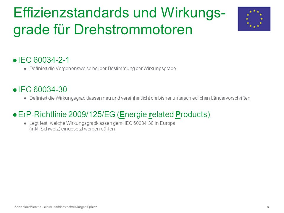 4 Schneider Electric - elektr. Antriebstechnik Jürgen Spiertz Effizienzstandards und Wirkungs- grade für Drehstrommotoren IEC 60034-2-1 Definiert die