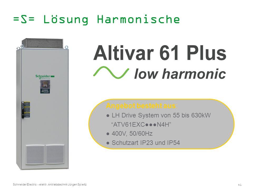 41 Schneider Electric - elektr. Antriebstechnik Jürgen Spiertz Angebot besteht aus: LH Drive System von 55 bis 630kW ATV61EXCN4H 400V, 50/60Hz Schutza