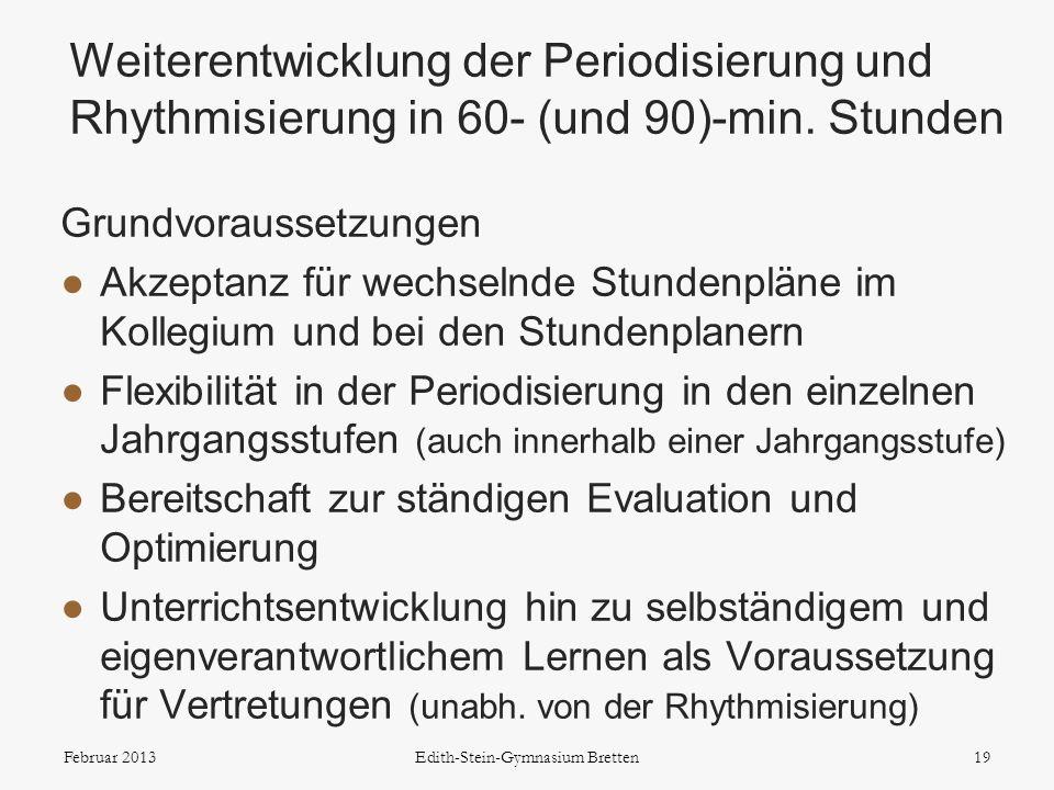 Grundvoraussetzungen Akzeptanz für wechselnde Stundenpläne im Kollegium und bei den Stundenplanern Flexibilität in der Periodisierung in den einzelnen