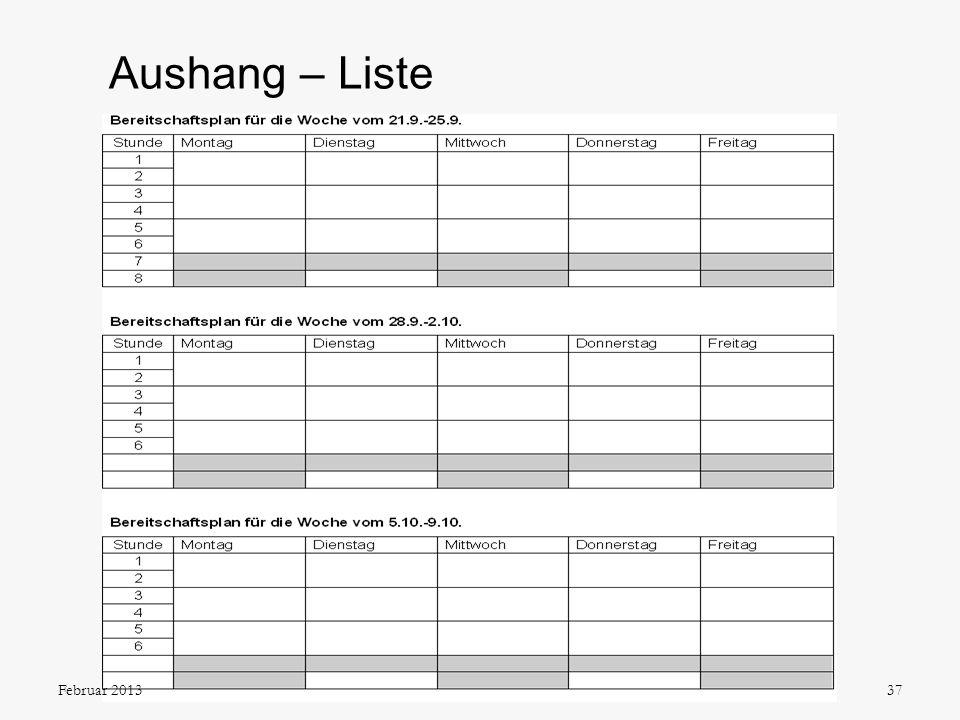Aushang – Liste 37Februar 2013