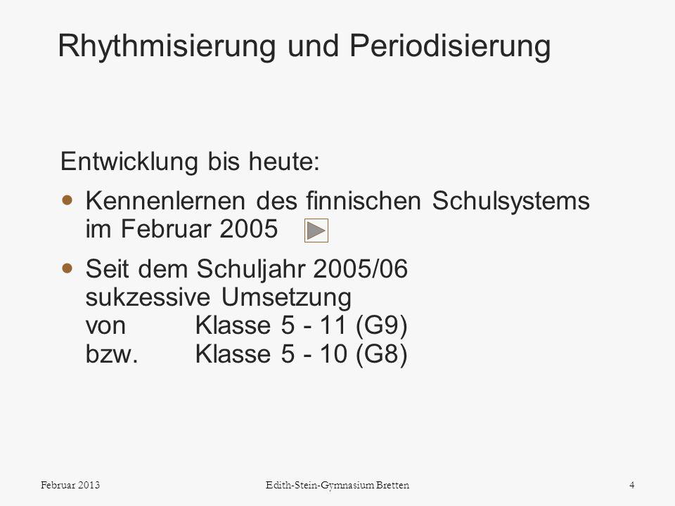 Entwicklung bis heute: Kennenlernen des finnischen Schulsystems im Februar 2005 Seit dem Schuljahr 2005/06 sukzessive Umsetzung von Klasse 5 - 11 (G9)