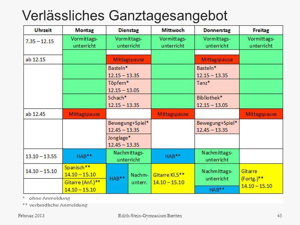 Verlässliches Ganztagesangebot 45Februar 2013Edith-Stein-Gymnasium Bretten