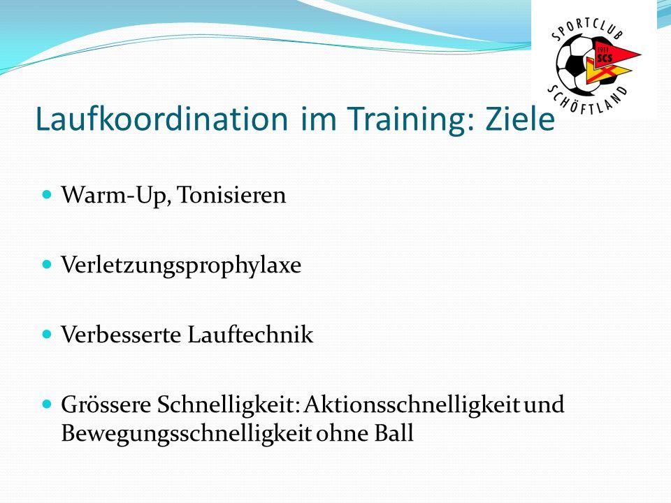 Laufkoordination im Training: Ziele Warm-Up, Tonisieren Verletzungsprophylaxe Verbesserte Lauftechnik Grössere Schnelligkeit: Aktionsschnelligkeit und