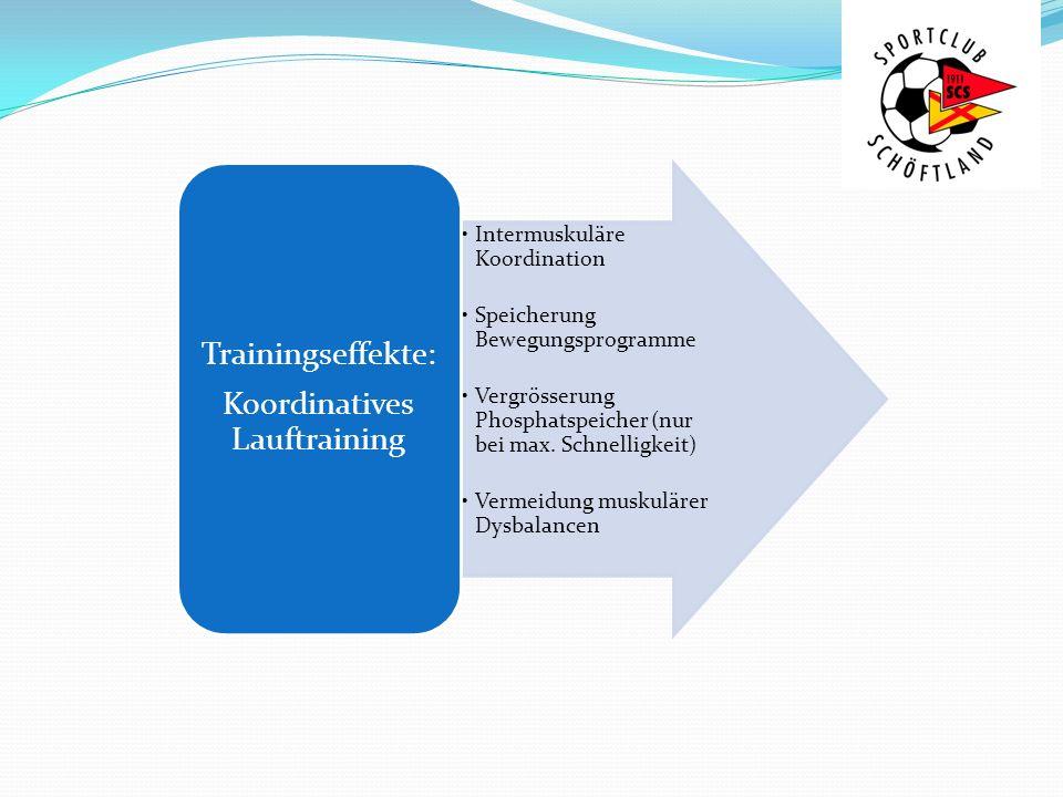 Intermuskuläre Koordination Speicherung Bewegungsprogramme Vergrösserung Phosphatspeicher (nur bei max. Schnelligkeit) Vermeidung muskulärer Dysbalanc