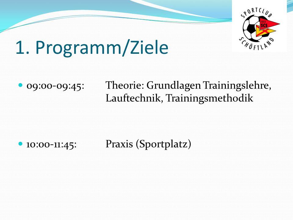 1. Programm/Ziele 09:00-09:45:Theorie: Grundlagen Trainingslehre, Lauftechnik, Trainingsmethodik 10:00-11:45:Praxis (Sportplatz)