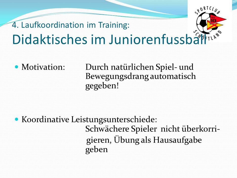 4. Laufkoordination im Training: Didaktisches im Juniorenfussball Motivation: Durch natürlichen Spiel- und Bewegungsdrang automatisch gegeben! Koordin