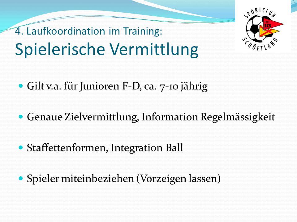 4. Laufkoordination im Training: Spielerische Vermittlung Gilt v.a. für Junioren F-D, ca. 7-10 jährig Genaue Zielvermittlung, Information Regelmässigk