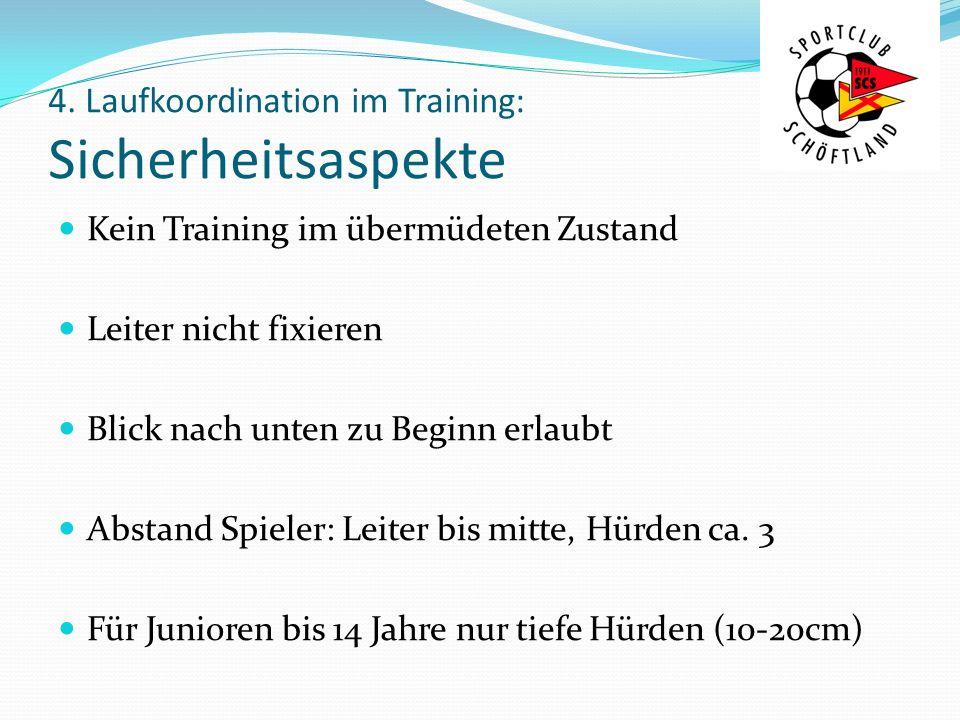 4. Laufkoordination im Training: Sicherheitsaspekte Kein Training im übermüdeten Zustand Leiter nicht fixieren Blick nach unten zu Beginn erlaubt Abst
