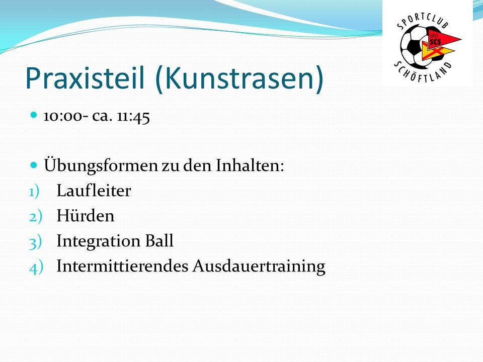 Praxisteil (Kunstrasen) 10:00- ca. 11:45 Übungsformen zu den Inhalten: 1) Laufleiter 2) Hürden 3) Integration Ball 4) Intermittierendes Ausdauertraini