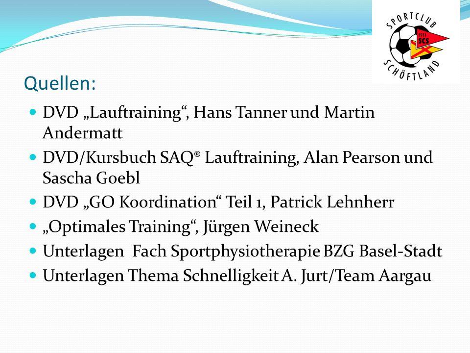 Quellen: DVD Lauftraining, Hans Tanner und Martin Andermatt DVD/Kursbuch SAQ® Lauftraining, Alan Pearson und Sascha Goebl DVD GO Koordination Teil 1,