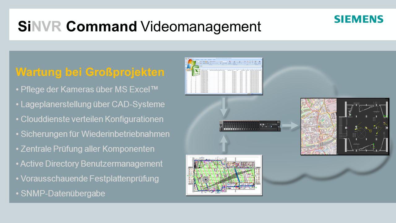 Wartung bei Großprojekten Pflege der Kameras über MS Excel Lageplanerstellung über CAD-Systeme Clouddienste verteilen Konfigurationen Sicherungen für